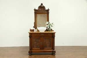 French Antique Carved Walnut Chest Sideboard Sink Vanity Marble