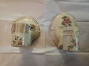 Vintage Porcelain Wall Sconce Light Fixture Lamp Floral Antique Need Wiring