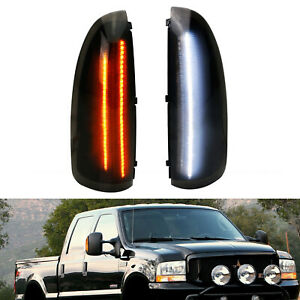 Smoke Lens White Amber Switchback Led Side Mirror Lamps For 03 07 Ford F250 F350