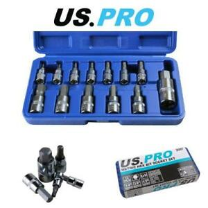 Us Pro Tools 13pc Metric Hex Bit Socket Set 2 14mm 1 4 3 8 1 2 2097