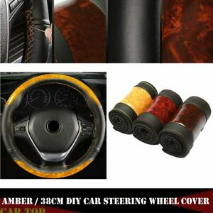 Black yellow Crystal Leather Diy Car Steering Wheel Cover With Needle And Thread