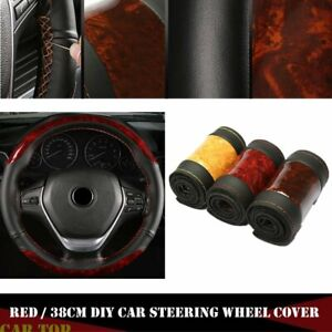 Black Red Diy 38cm Leather Diy Car Steering Wheel Cover W Needle And Thread