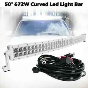 4d 50 inch 672w White Curved Led Light Bar Combo Offroad For Jeep Utv Truck Suv