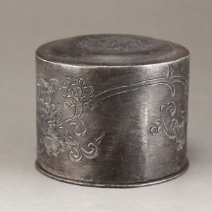Vintage Chinese White Copper Thumb Ring Box