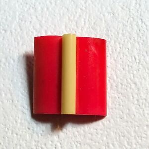 Cream Celluloid Extruded Rod On Red Rectangle Celluloid Button
