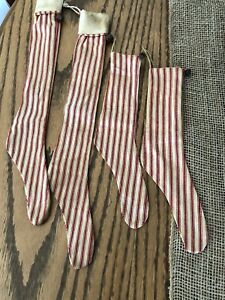 Free Shipping 4 Primitive Handmade Christmas Tree Stockings Rusty Bells