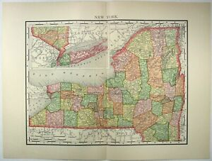 Original 1895 Map Of New York State By Rand Mcnally Antique