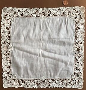 19th C Irish Youghal Needle Lace Handkerchief Collector