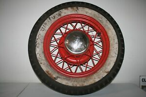 Ford Model A T Goodrich Silvertown White Wall Tire Spoke Wheel Vtg V8 Antique