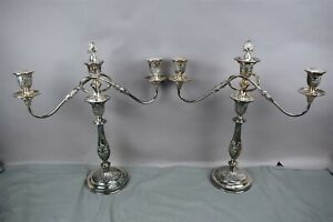 Candelabra 3 Arm Candle Holder Ornate Silver Plate Made In England Set Of 2