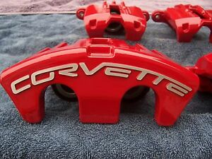 Red Powder Coated 05 13 Corvette C6 F R Base Z51 Calipers Brackets