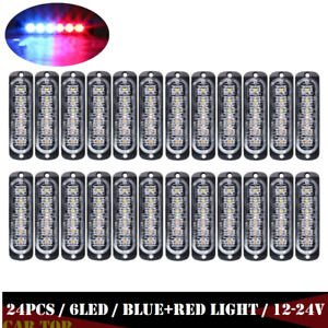 24x 6 Led Car Truck Strobe Flash Emergency Warning Light 12 24v Red Blue Lamp