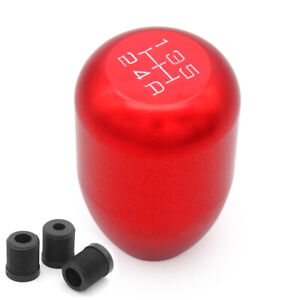 5 Speed Manual Gearbox Shift Knob On Aluminum Red Universal Fit Most Cars