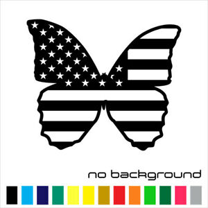 Butterfly Usa Flag Sticker Vinyl Decal American United States Wall Car Window