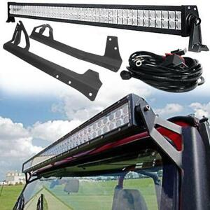 50 in Led Light Bar With Windshield Mounting Brackets For 07 17 Jeep Wrangler Jk