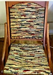 19th Century Antique Folding Wood Chair Covered Wagon Tapestry Wooden Chair