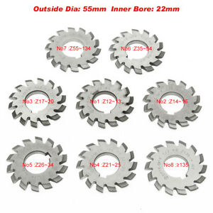 Hss 8h Set 8 Pcs Dp16 Inner Bore 22mm Pa14 1 2 No1 8 Involute Gear Cutters 55mm