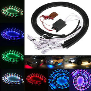 7 Color Led Strip Neon Lights Kit Under Car Tube Underglow Underbody System Usa