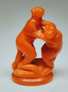 Antique 1920s Chinese Hand Carved Coral Two Monkeys Figurine Approx 1 Tall