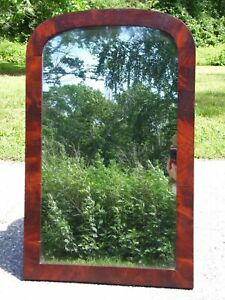 Antique American Flame Mahogany Arched Framed Mirror Mercury Glass