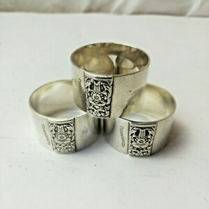 Chrome Plated Napkin Ring Holders 3 Floral Design Community Plate