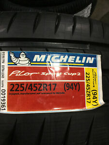 4 New 225 45 17 Michelin Pilot Sport Cup 2 Tires