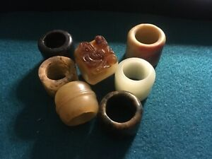 Antique Old Chinese White Jade Archer Ring And 6 Others Lot Of 7