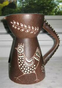 Mid Century Modern Art Pottery Pitcher W Rooster Fratelli Fanciullacci Italy Gr8