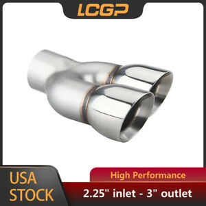 2 25 Inlet 3 Dual Outlet Exhaust Tip Angle Cut Rolled Edge Stainless Steel