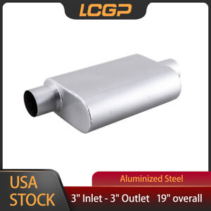 3 Offset Inlet 3 center Outlet 2 Chamber Performance Racing Welded Muffler Oval