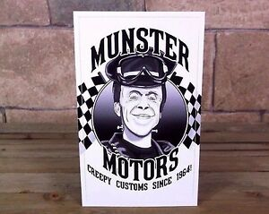 Munster Motors Vintage Style Rat Rod Decal Racing Sticker Hot Herman Grandpa