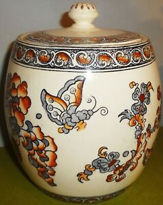 Dated 1882 S Fielding Co Staffordshire India Pattern Biscuit Or Cracker Jar