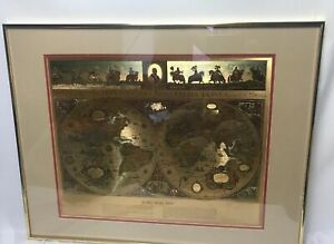 Vintage Teal Gold Foiled Blaeu Wall Map Of New World 22 5 X 28 Matted Framed