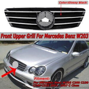 For Mercedes Benz W203 Grill C230 C320 C240 2001 2007 Grille Gloss Black 4 Fins