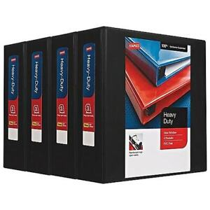 Staples Heavy duty 3 3 ring View Binders Black 4 carton 24690ct