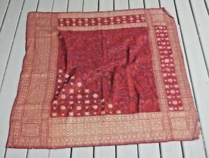 Indonesian Ikat Silk Gold Brocade Textile Head Cloth Southeast Asia Tapestry