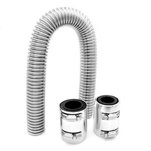 24 Stainless Steel Radiator Hose Coolant Water Kit With 2 Chrome Caps Universal