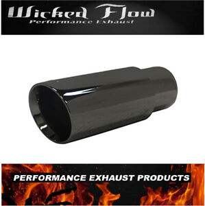 2 25 Inlet 3 Outlet 8 Long Universal Chrome Exhaust Tip Stainless Steel Black