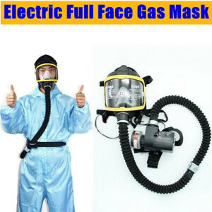 Electric Constant Flow Supplied Air Fed Full Face Gas Mask Respirator Sys Filter