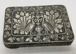 Antique 800 Sterling Silver Peacock Card Case Snuff Box