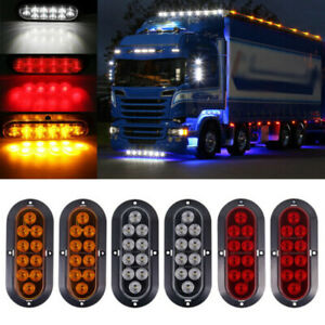 2 White 2 Red 2 Amber 6 Oval 10 Led Stop Turn Tail Lights Truck Trailer