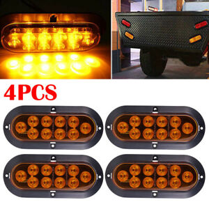 4x10 Led 6 Yellow Oval Surface Mount Brake Stop Tail Light Car Truck Trailer