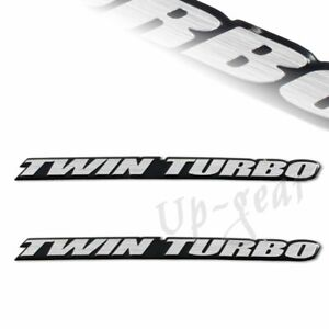 2pcs Universal Silver Twin Turbo Aluminum Adhesive Emblem Badge Sticker Decal