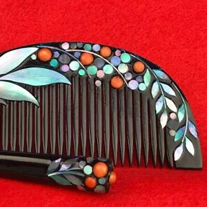 Japanese Antique Combs And Kogai Lacquered Spiral Work Coral So Beautiful Set