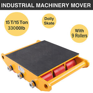 15t 33000lbs Heavy Duty Dolly Skate Machinery Roller Mover Cargo Trolley 9roller