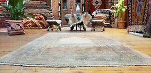 Beautiful Antique Cr1930 1940s Muted Natural Dyes 4 2 7 Oushak Prayer Rug