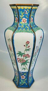 Antique 1920s Chinese Hand Painted Various Flowers Enamel On Bronze Hexagon Vase