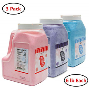 3 Pack Cotton Candy Floss Sugar 6lbs 96 Oz Strawberry Raspberry Blue And Grape