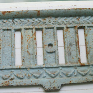 Vintage Antique Rusty Chippy Cast Iron Ornate Fireplace Fender Bumper Surround