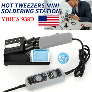 Yihua 938d Portable Hot Tweezers Mini Soldering Station 120w 110v For Bga Smd Us